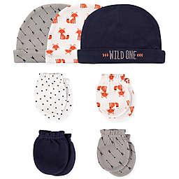 Hudson Baby® 7-Piece Fox Cap and Mitten Set in White/Grey