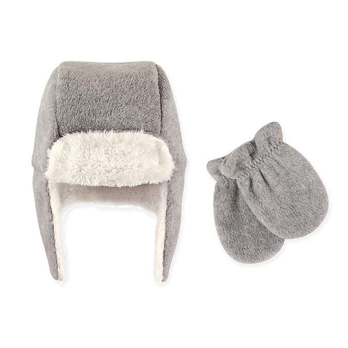 Hudson Baby 2 Piece Trapper Hat And Mitten Set In Grey