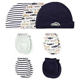Hudson Baby® 7-Piece Cars Cap and Mitten Set in Blue