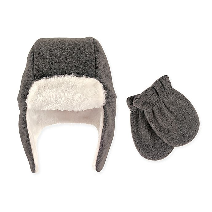 Alternate image 1 for Hudson Baby® 2-Piece Trapper Hat and Mitten Set in Charcoal