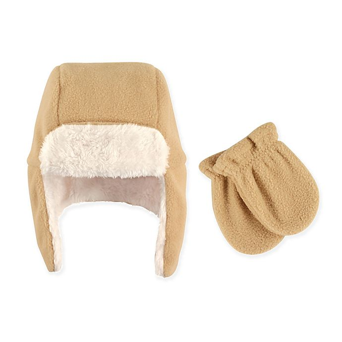 Hudson Baby 174 2 Piece Trapper Hat And Mitten Set In Tan