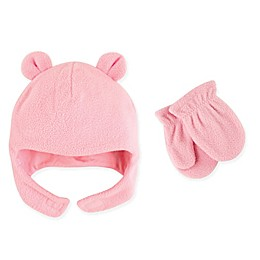 Luvable Friends® 2-Piece Bear Ears Fleece Hat and Mitten Set in Pink