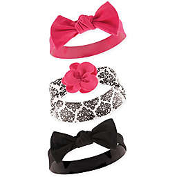 Yoga Sprout 3-Pack Damask Headbands in Black
