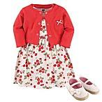 Hudson Baby® Size 3-6M 4-Piece Strawberries Dress, Cardigan and Shoe Set in Red