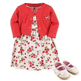 Hudson Baby® Strawberries 4-Piece Dress, Cardigan and Shoe Set in Red