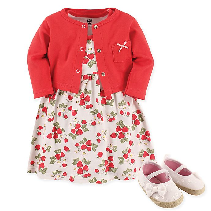 b91a03ec3855 Hudson Baby® Size 12-18M 4-Piece Strawberries Dress, Cardigan and Shoe Set  in Red
