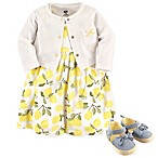 Hudson Baby® Size 6-9M 4-Piece Lemons Dress, Cardigan and Shoe Set in Yellow