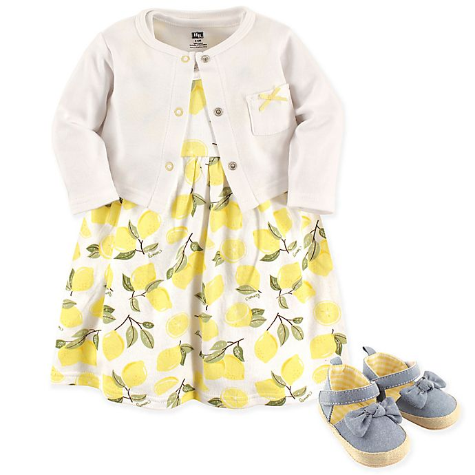 075e1332b5d7 Hudson Baby® 4-Piece Lemons Dress, Cardigan and Shoe Set in Yellow ...
