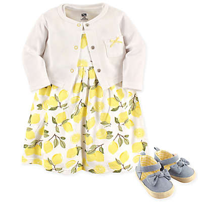 Hudson Baby® 4-Piece Lemons Dress, Cardigan and Shoe Set in Yellow