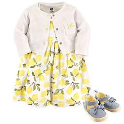 Hudson Baby® 4-Piece Lemons Dress, Cardigan and Shoe Set in Yellow