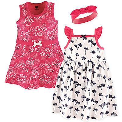 Hudson Baby® 3-Piece Tropical Dress and Headband Set