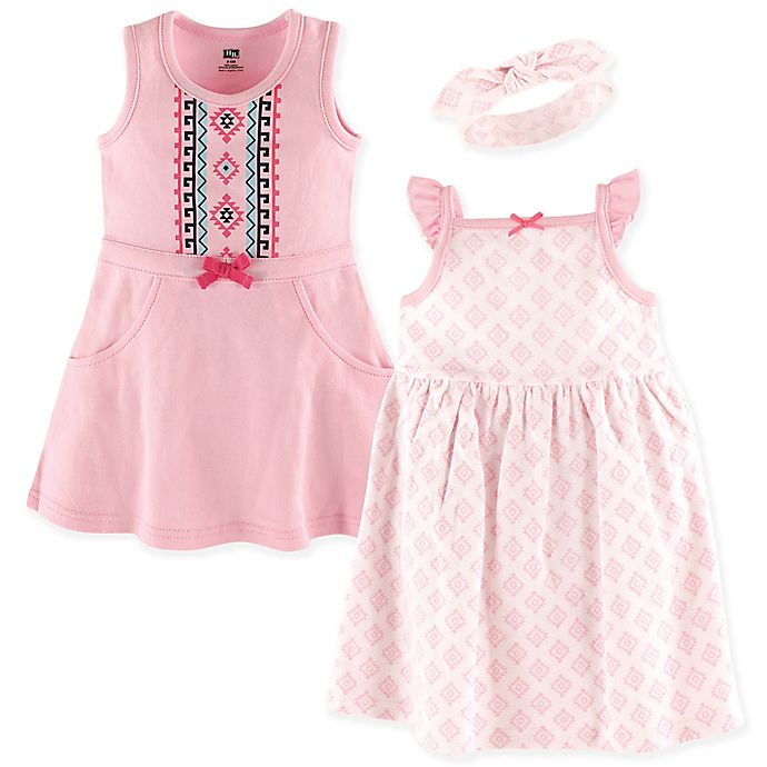 5f48b187c833f Hudson Baby® 3-Piece Aztec Print Dress and Headband Set   buybuy BABY