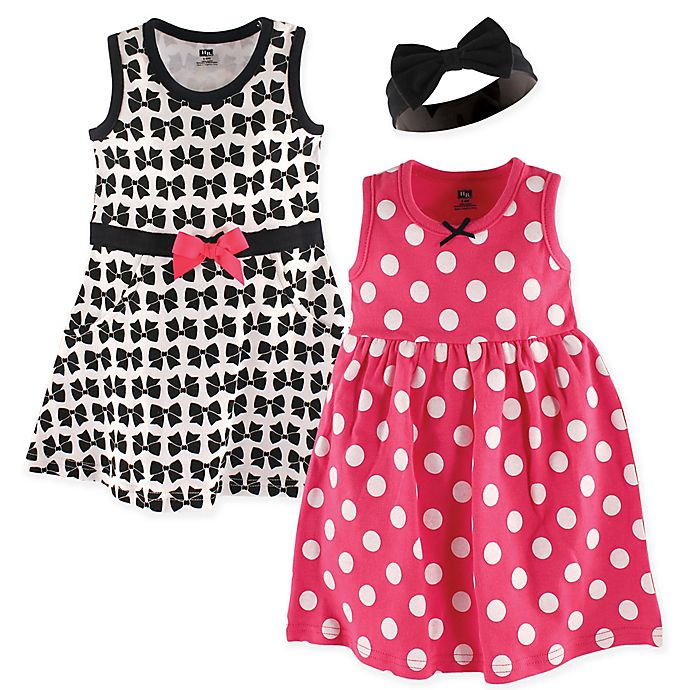 Alternate image 1 for Hudson Baby® 3-Piece Bows Dress and Headband Set