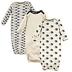 Touched by Nature Hedgehog Size 0-6M 3-Pack Organic Cotton Gowns in Beige