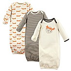 Touched by Nature Fox Size 0-6M 3-Pack Organic Cotton Gowns in Beige