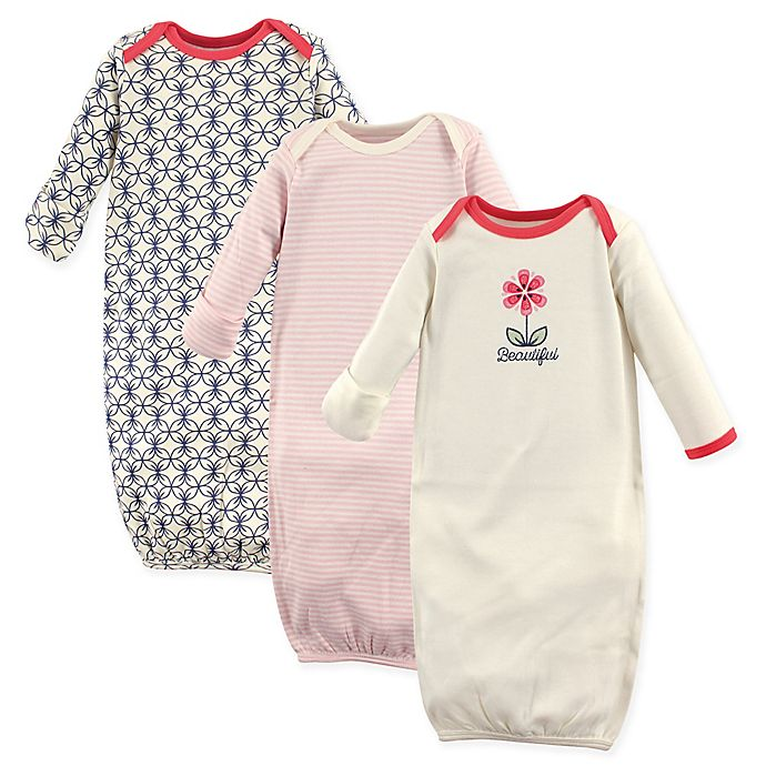 Alternate image 1 for Touched by Nature Size 0-6M 3-Pack Organic Cotton Flower Gowns in Beige