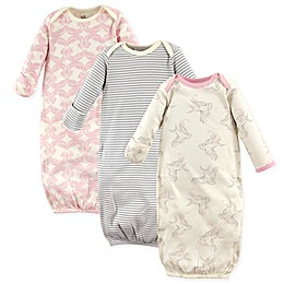 Touched by Nature Size 0-6M 3-Pack Organic Cotton Bird Gowns in Beige