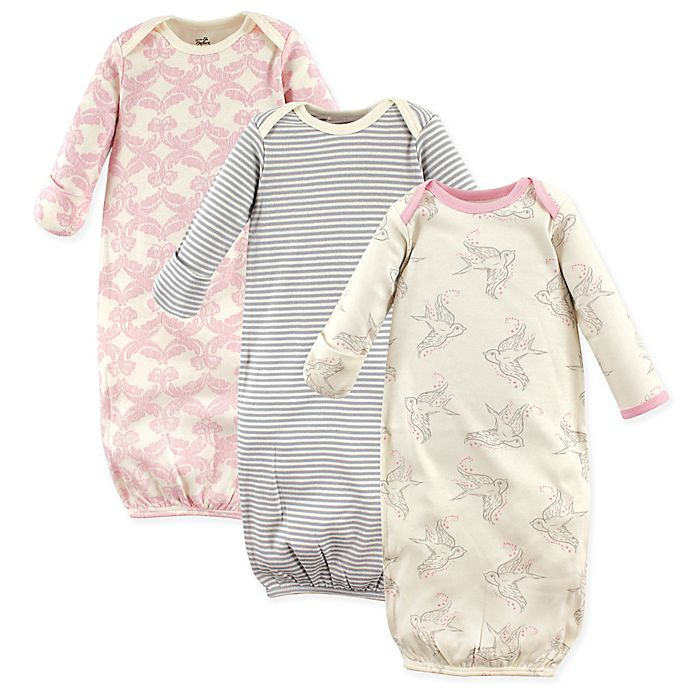 Alternate image 1 for Touched by Nature Size 0-6M 3-Pack Organic Cotton Bird Gowns in Beige