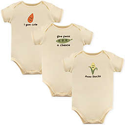 "Touched by Nature 3-Pack ""Aww Shucks"" Organic Cotton Bodysuits in Beige"