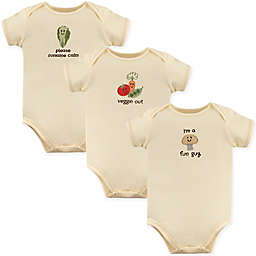 Touched by Nature 3-Pack Fun Guy Organic Cotton Bodysuits in Beige
