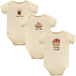 Touched by Nature 3-Pack Freshly Picked Organic Cotton Bodysuits in Beige