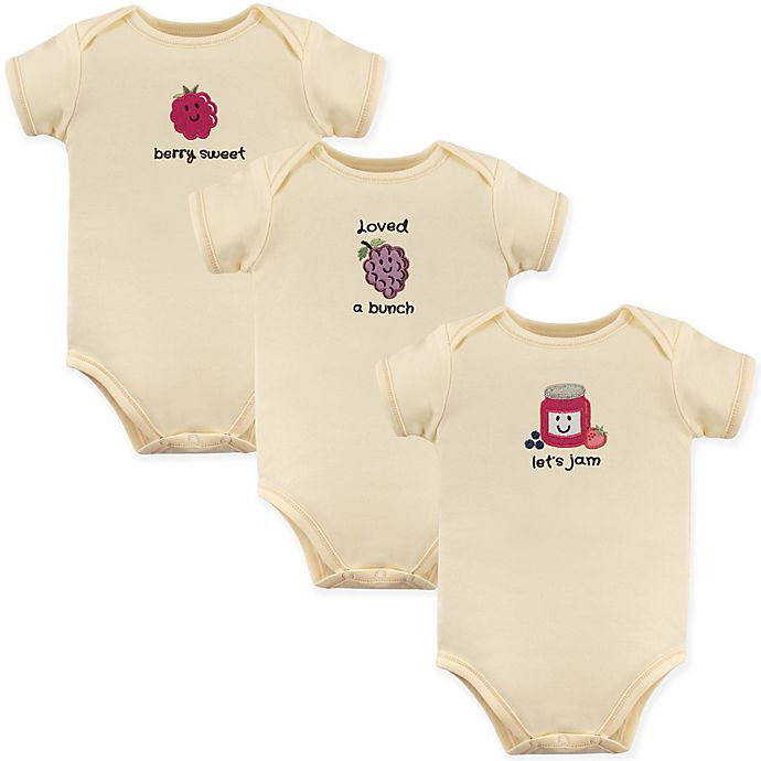 Alternate image 1 for Touched by Nature 3-Pack Let's Jam Organic Cotton Bodysuits in Beige