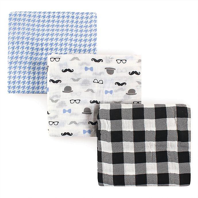 Alternate image 1 for Hudson Baby® 3-Pack Gentleman Muslin Swaddle Blankets
