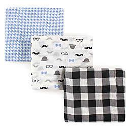 Hudson Baby® 3-Pack Gentleman Muslin Swaddle Blankets