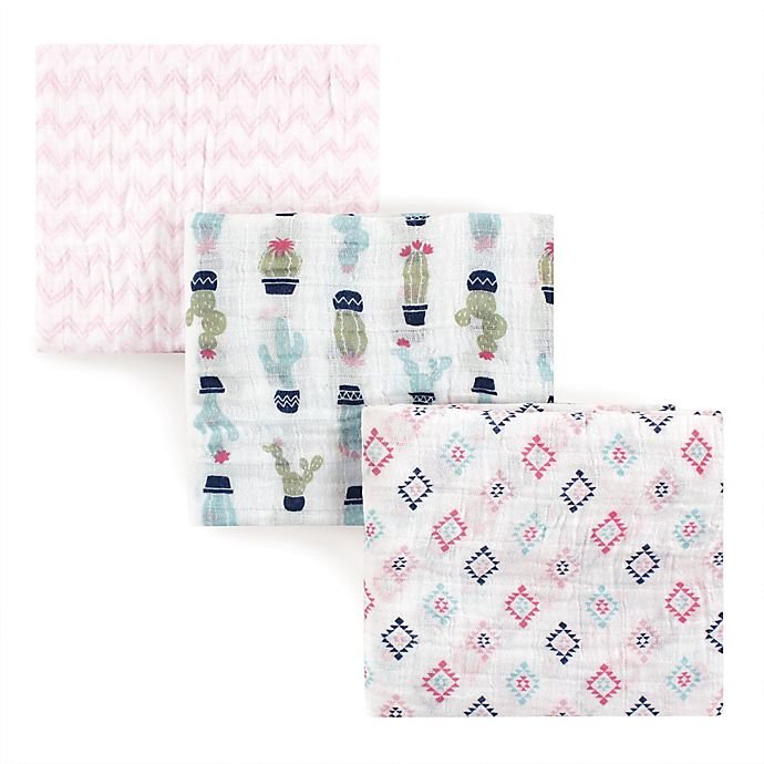 Alternate image 1 for Hudson Baby® 3-Pack Cactus Muslin Swaddle Blankets