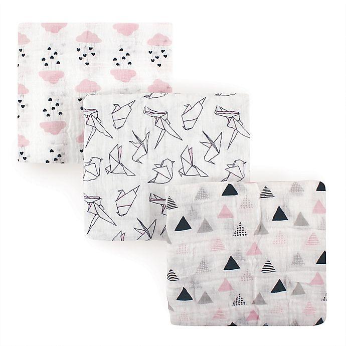 Alternate image 1 for Hudson Baby® 3-Pack Paper Birds Muslin Cotton Swaddle Blankets