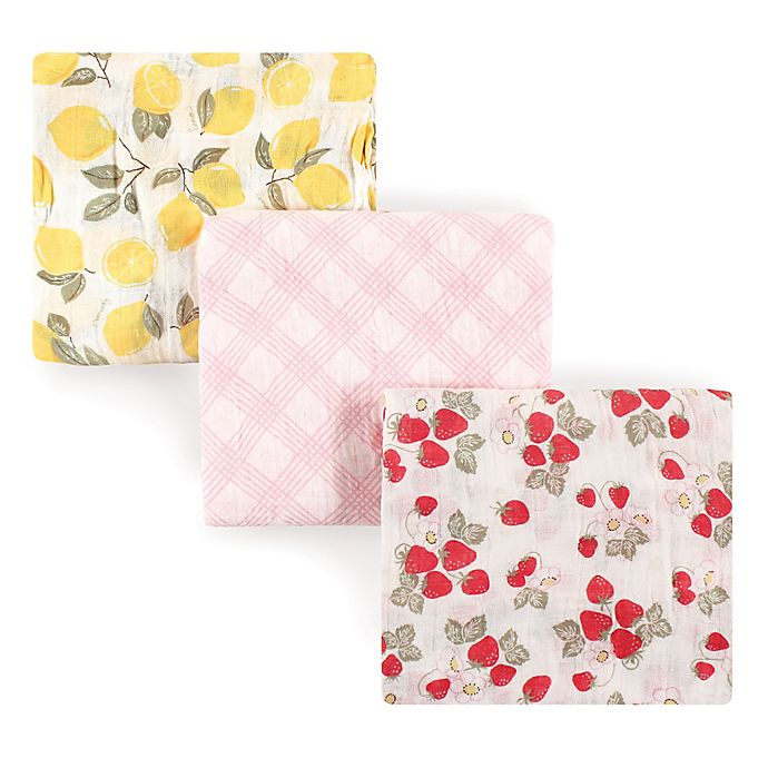 Alternate image 1 for Hudson Baby® 3-Pack Fruit Muslin Cotton Swaddle Blankets