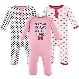 Hudson Baby® 3-Pack Bows Union Suits