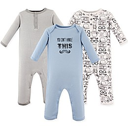 Hudson Baby® 3-Pack Mustache Long Sleeve Union Suits