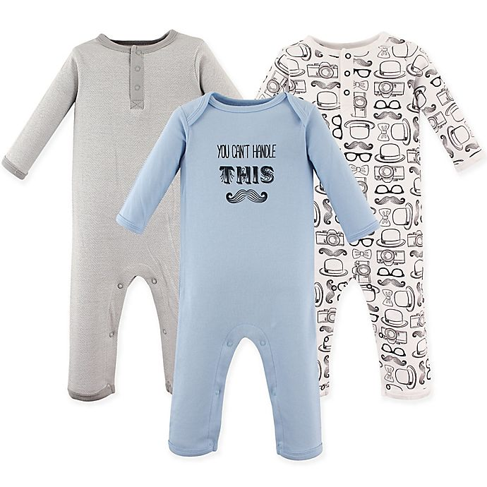 Alternate image 1 for Hudson Baby® Size 9-12M 3-Pack Mustache Long Sleeve Union Suits