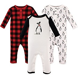 Hudson Baby® 3-Pack Mr. Penguin Long Sleeve Union Suits