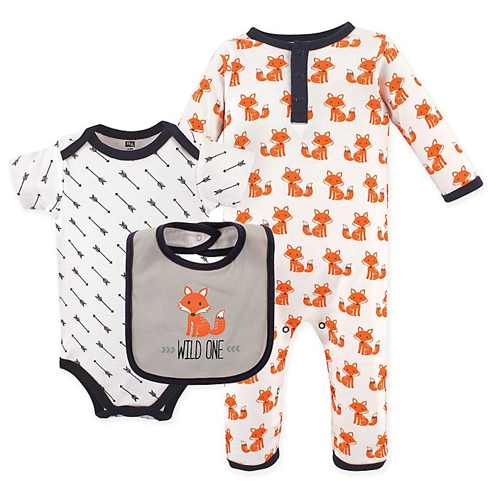 Alternate image 1 for Hudson Baby® 3-Piece Fox Union Suit, Bodysuit and Bib Set