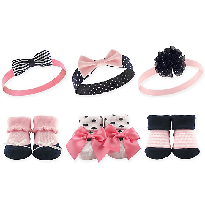 Alternate image 1 for Hudson Baby® Size 0-9M 6-Pack Baby Headband and Socks Set in Navy/Pink