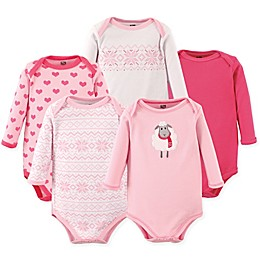 Hudson Baby® 5-Pack Long Sleeve Sheep Bodysuits in Pink