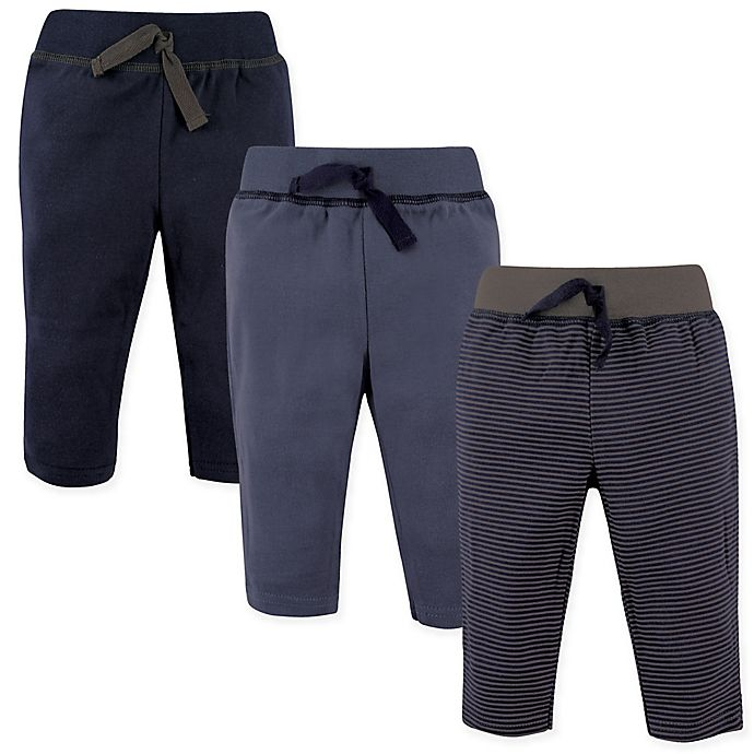 Alternate image 1 for Hudson Baby® 3-Pack Track Pants in Navy/Grey