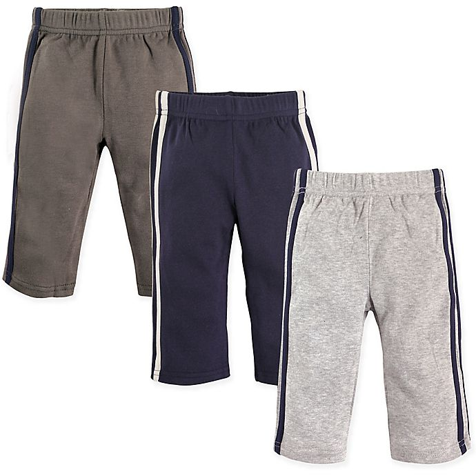 Alternate image 1 for Hudson Baby® 3-Pack Athletic Pants in Blue/Grey
