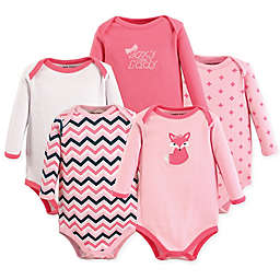 Luvable Friends® 5-Pack Foxy Long Sleeve Bodysuits in Dark Pink