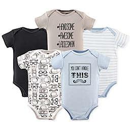Hudson Baby® 5-Pack Mustache Short Sleeve Bodysuits