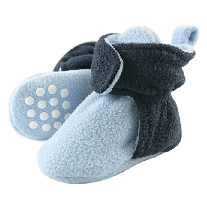 Alternate image 1 for Luvable Friends® Size 6-12M Scooties Fleece Booties in Light Blue/Navy