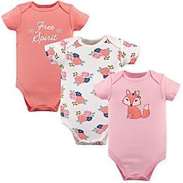 "Hudson Baby® 3-Pack Short Sleeve ""Free Spirit"" Bodysuits in Pink"