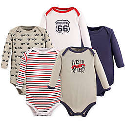 Luvable Friends® 5-Pack Speedy Long Sleeve Bodysuits in Red/Navy