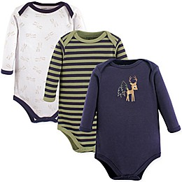 Luvable Friends® 3-Pack Deer Long Sleeve Bodysuits
