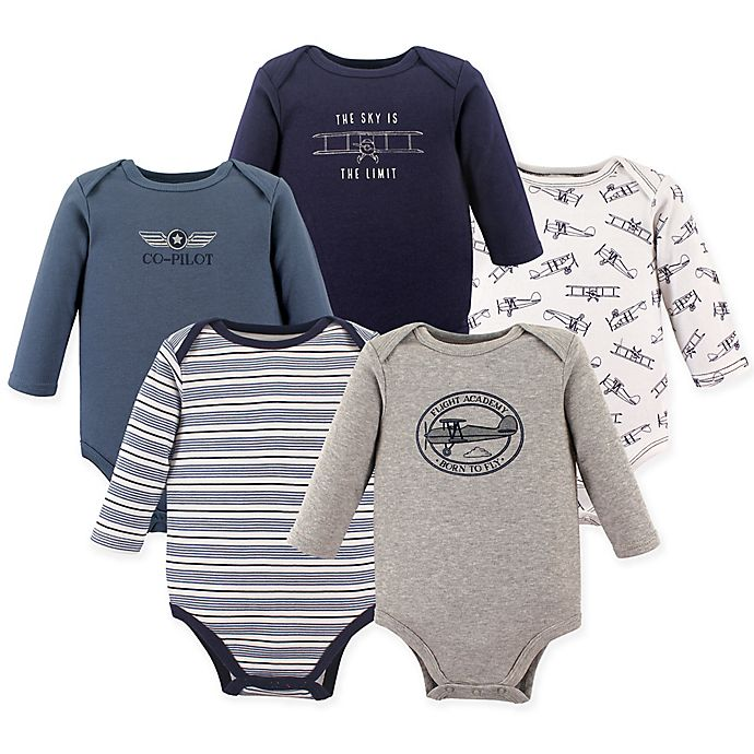 Alternate image 1 for Hudson Baby® 5-Pack Co-Pilot Long Sleeve Bodysuits