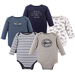 Hudson Baby® 5-Pack Co-Pilot Long Sleeve Bodysuits