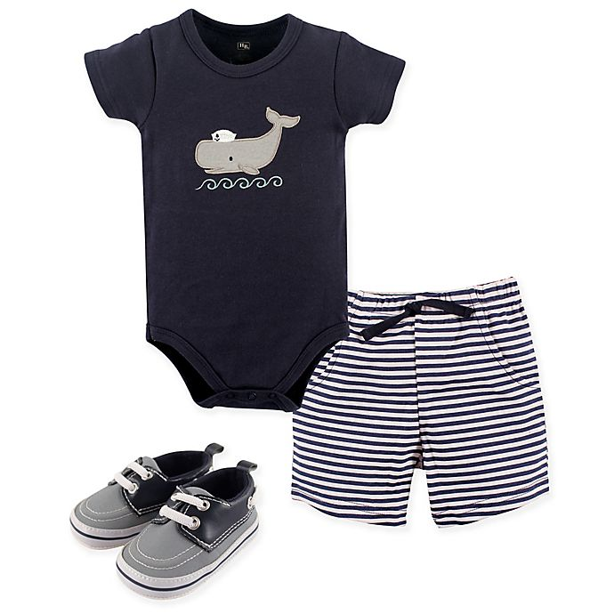 Alternate image 1 for Hudson Baby® Size 6-9M 4-Piece Whale Bodysuit, Short, and Shoe Set in Blue