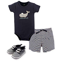Hudson Baby® 4-Piece Whale Bodysuit, Short, and Shoe Set in Blue